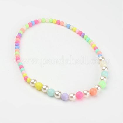 Imitation Pearl Acrylic Graduated Beaded Kids NecklacesNJEW-JN01587-1