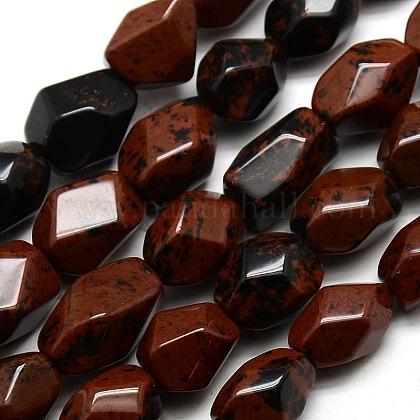 Polígono cuentas de obsidiana caoba natural hebrasG-P063-90-1