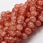 Cuentas redondas de vidrio craquelado hebras, tomate, 4mm, agujero: 1 mm; aproximamente 90 unidades / cadena, 15.7 pulgada
