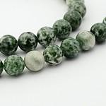 Brins de perles rondes en jaspe tache verte naturelle, 6mm, trou: 1mm; environ 68 pcs/chapelet, 15.7