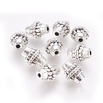 Tibetan Silver Alloy Beads, Lead Free & Cadmium Free, Bicone, Antique Silver, about 8mm in diameter, 10mm long, hole: 2mm
