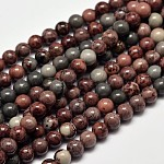 Round Natural Dendritic Jasper Beads Strands, 6mm, Hole: 1mm; about 63pcs/strand, 15.4