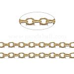 Cadenas de cable de latón, soldada, con carrete, oval, sin plomo y cadmio, Plateado de larga duración, dorado, 2x1.5x0.5mm, aproximadamente 301.83 pie (92 m) / rollo