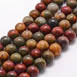 Natural Picasso Stone/Picasso Jasper Bead Strands, Round, 8mm, Hole: 1mm; about 49pcs/strand, 15inches