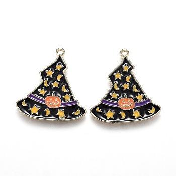 Хэллоуин тема шляпа ведьмы сплав эмалевые подвески, волшебная шляпа с рисунком звезды, луны и тыквы, золотой свет, 26.5x24.5x1.5 мм, отверстие : 1.6 мм