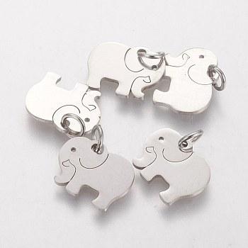 Pendentifs en 304 acier inoxydable, éléphant, couleur inoxydable, 11x14x1mm, Trou: 3mm