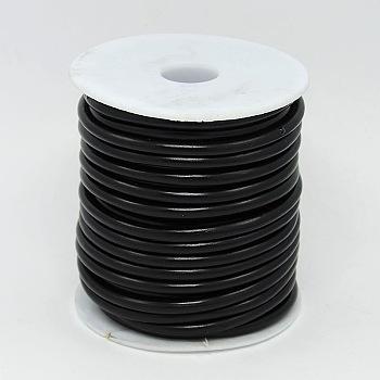 合成ゴム紐, 中空, 白いプラスチックスプール付き, ブラック, 5mm, 穴:3ミリメートル、約10 M /ロール