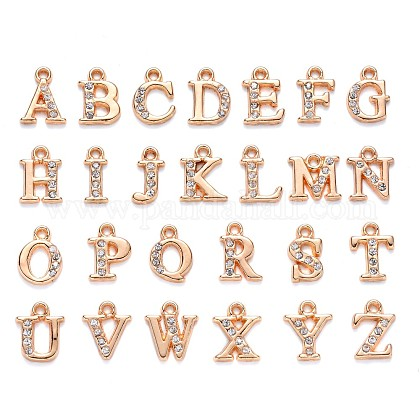 Light Gold Plated Alloy Rhinestone Charms ALRI-T008-01G-1