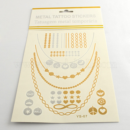 Cool Body Art Removable Mixed Shapes Fake Temporary Tattoos Metallic Paper StickersAJEW-Q081-08-1