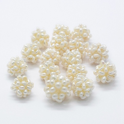 Cuentas de racimo de perlas de agua dulce cultivadas a mano naturalesPEAR-P056-027B-1