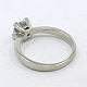 316L Stainless Steel Cubic Zirconia Engagement RingsRJEW-E015-036C-2