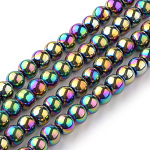 Transparent Glass Beads Strands, Round, Multi-color Plated, 4mm; Hole: 1mm, about 70pcs/strand, 11 inches