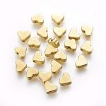 Латунные бусины, сердце, без кадмия, без никеля и без свинца, реальный 18k позолоченный, 6x7x2.5 мм, отверстие : 1 мм