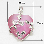 Valentine Idea for Her Gifts Cat Eye Pendants, with Brass Findings, Heart, Platinum Color, Pink, 25x21x9mm, Hole: 5x4mm