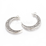 Tibetan Style Alloy Hollow Moon Links Connectors, Lead Free, Antique Silver, 37x8x2mm, Hole: 1~3mm