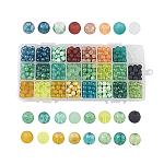 Perles en verre, ronde, mixedstyle, couleur mixte, 8mm, trou: 1.3~1.6 mm; environ 720 / boîte