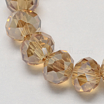 Handmade Glass Beads, Faceted Rondelle, Camel, 6x4mm, Hole: 1mm; about 90~93pcs/strand