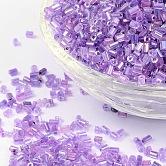 11/0 de dos abalorios de la semilla de cristal tallado, hexágono, reronda los colores del arco iris trans.inside, púrpura, tamaño: aproximamente 2.2 mm de diámetro, aproximamente 37500 unidades / libra