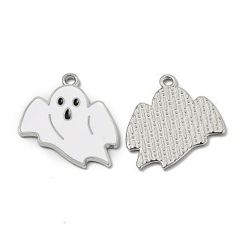 Подвески из эмали и сплава, для Хэллоуина, призрак, платина, белые, 26.5x23x1.2 мм, отверстие : 1.8 мм