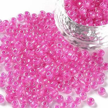 6/0 Perlas de semillas de vidrio, dentro de los colores, agujero redondo, redondo, colores transparentes arco iris, camelia, 6/0, 4~5x2.5~4.5mm, agujero: 1.2 mm, aproximamente 4500 unidades / bolsa