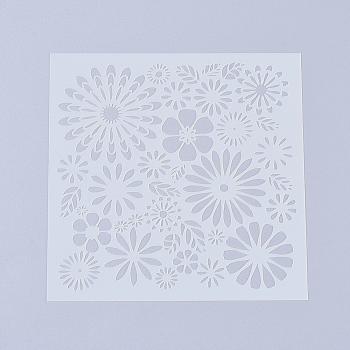 プラスチック塗装ステンシル  図面テンプレート  DIYスクラップブッキング用  花  ホワイト  130x130x0.2mm