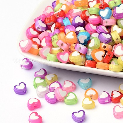 Transparent Heart Acrylic Beads TACR-S117-M-1