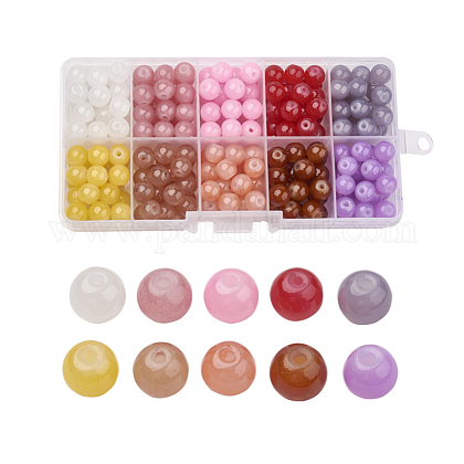 Imitation Jade Glass Beads StrandsDGLA-X0007-8mm-02-1