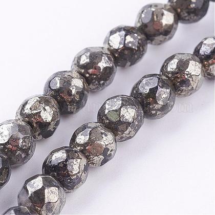 Natural Pyrite Beads StrandsG-P303-02-8mm-8-1