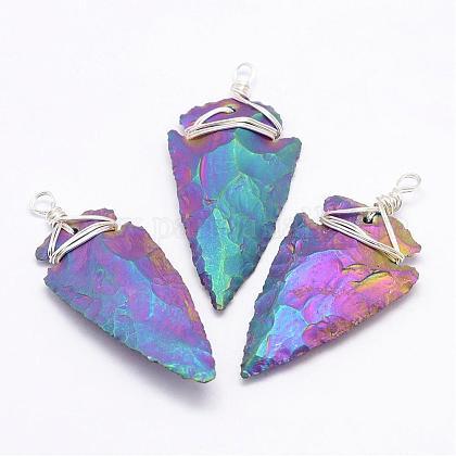Cristal de cuarzo galvanizado colgantes grandesG-G908-02P-1