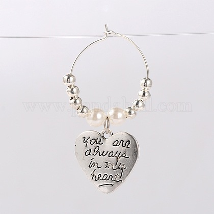 Tibetan Style Heart with Word You Are Always In My Heart Wine Glass Charms AJEW-JO00028-01-1