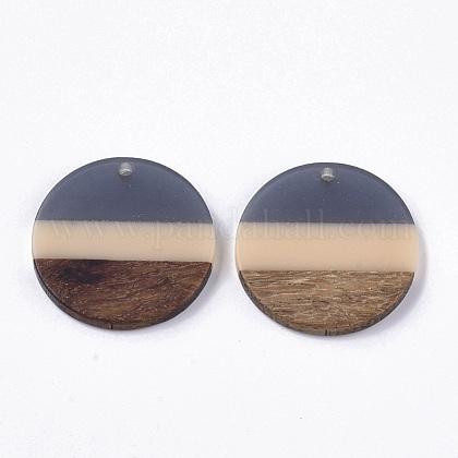 ツートンカラーの透明樹脂とウォールナットウッドのペンダント  フラットラウンド  グレー  28x3.5mm  穴:2mmRESI-S358-78-A01-1
