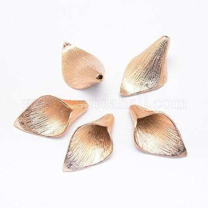 花弁のないラックメッキ真鍮ビーズキャップX-KK-E672-009KCG-1
