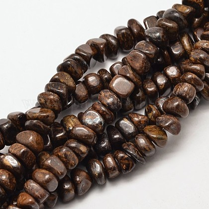Natural Bronzite Chip Beads Strands G-P091-31-1