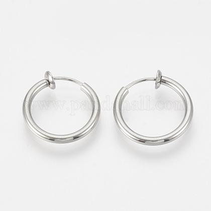 304 Stainless Steel Retractable Clip-on Hoop EarringsSTAS-S100-06-1