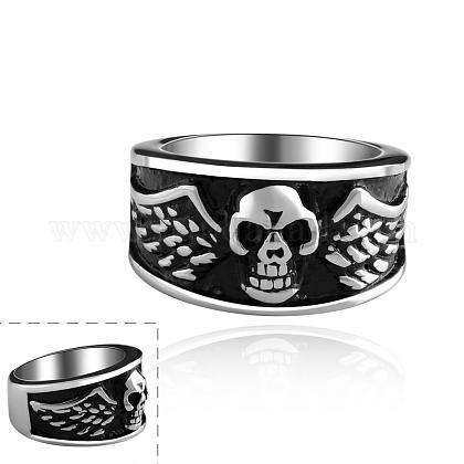 Fashionable 316L Stainless Steel Skull Rings Wide Band Rings for MenRJEW-BB10144-7-1