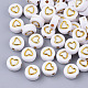 Plating Acrylic Beads, Metal Enlaced, Flat Round with Heart, Golden Plated, 7x4mm, Hole: 1.5mm