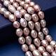 Hebras de perlas ovaladas de agua dulce cultivadas naturalesPEAR-R015-43-5