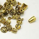 チベット風合金ビーズキャップ, 混合図形, アンティーク黄金, 5~20x2~10mm, 穴:0.5mm