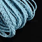 Braided Imitation Leather Cords, Herringbone Bracelet Findings, LightSkyBlue, 5x2mm; 100m/bundle