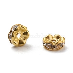 Iron Rhinestone Spacer Beads, Grade A, Rondelle, Waves Edge, Golden, 6x2.5mm, Hole: 1.5mm