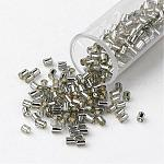 TOHO® Transparent Glass Bugle Beads, Round Hole, Dyed, Silver Lined, Gray, 2x1.7~1.8mm, Hole: 1mm; about 6650pcs/bag, 100g/bag