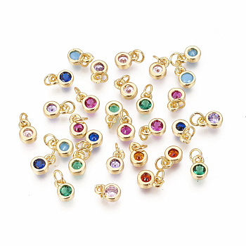 Brass Micro Pave Cubic Zirconia Charms, Flat Round, Golden, Mixed Color, 6.5x4.5x2mm, Hole: 2.5~3mm