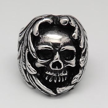 Уникальные ретро Хэллоуин украшения черепа кольца для мужчин, 316 хирургическое широкое кольцо из нержавеющей стали, античное серебро, 17~23 мм