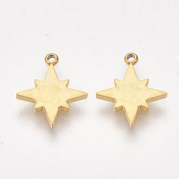 Breloques en 304 acier inoxydable, étoiles, or, 11.5x9.5x1mm, Trou: 1mm