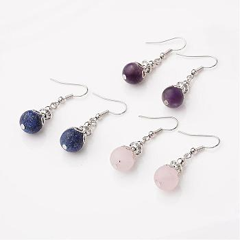 Tibetan Style Alloy Dangle Earrings, with Nature Gemstone and Brass Earring Hooks, 40mm; Pin: 0.7mm