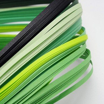 6 Colors Quilling Paper Strips, Green, 390x3mm; about 120strips/bag, 20strips/color