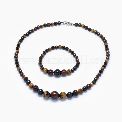 Natural Tiger Eye Graduated Beads Necklaces and Bracelets Jewelry SetsSJEW-L132-09-1