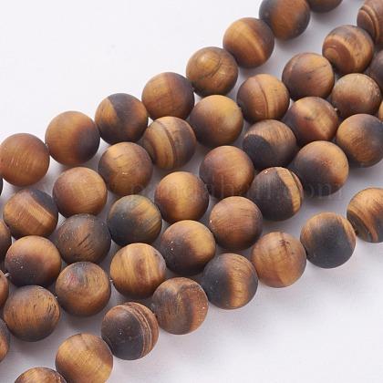 Chapelets de perles rondes en œil de tigre mat naturelG-M064-14mm-02-1