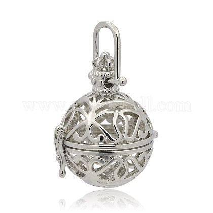 Brass Hollow Round Cage PendantsKK-J253-02P-1