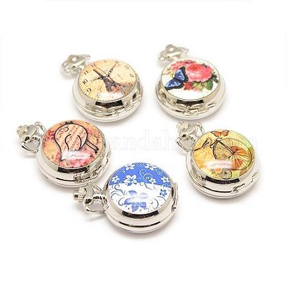 Mezcla de estilos que se pueden abrir aleación impresa porcelana cabezas reloj de cuarzo redondas planas para collares del reloj de bolsillo que hacenWACH-M111-M-1